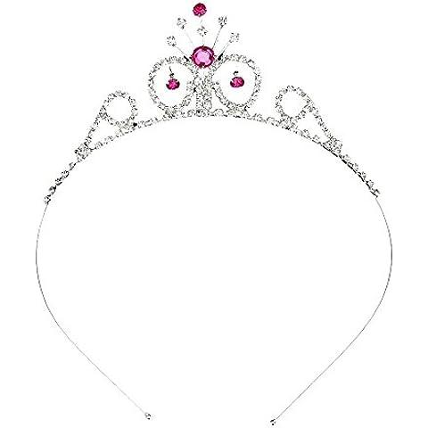 Generic - Coroncina-cerchietto da bambine, motivo floreale, adatta per matrimoni, fascia in stile tiara con cristalli di colore: Fucsia