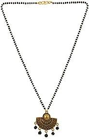 Jewel Pari Mangalsutra Indian Jewelry Boho Vintage Antique Ethnic Oxidised Gold Black Beaded Pendant Necklace