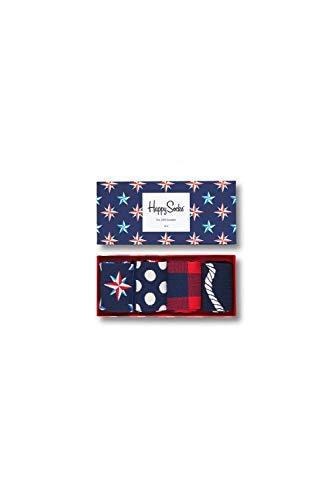 Happy Socks Calze da Uomo Nautico Scatola Regalo, 4 Pacco - Blu (Blu Marino  6000), Taglia Unica (Misure Del Produttore: 41-46)