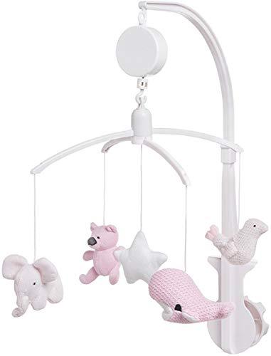 Baby's Only Mobile - Babymobile fürs Kinderbett inklusive Spieluhr - Kinder-Mobile mit 5 freundlichen Figuren zur Beruhigung & Förderung - Figuren-Mobile von 0 bis 6 Monaten - Rosa,Weiß