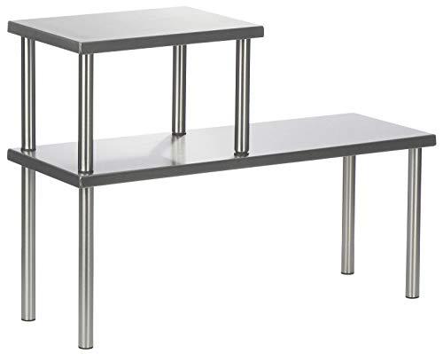 COM-FOUR® étagère de cuisine à 2 niveaux en acier inoxydable avec pieds en caoutchouc antidérapants