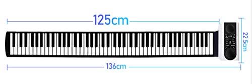 RROWER Elektro-Roll-Up-Piano, tragbare Faltbare 88 Tasten Flexible Soft-Silikon Elektronische Musik-Keyboard, USB mit Louder-Lautsprecher