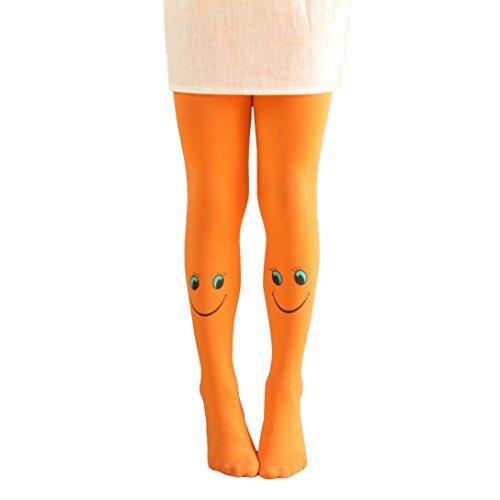 Mädchen Strumpfhosen, ZIYOU Niedlich Mode Socken/ Baby Weiche Leggings Frühling Herbst Winter für 3 ~ 10 Jahre alt (Orange)