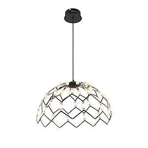 XFZ / LED 27W hängende Lampe moderner stilvoller Acryllampenschirm-rundes Gitter Schwarze Metallpendelleuchte Minipersönlichkeits-Schlafzimmerpendelleuchte Höhenverstellbar Ø40CM 3200K Warm White