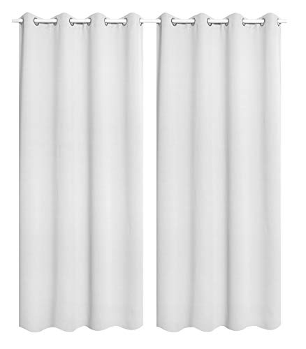 Woltu® # 488–2paio di tende oscuranti con occhielli, pronte, pannelli con coppia di fermatenda per camera da letto soggiorno cucina, tessuto metallo, white, 53x89in(135x225cm)