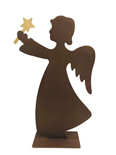 ecoSoul Ange en métal avec étoile de Noël 28 cm de Haut