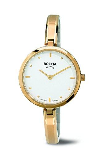 Boccia Women's Quartz Watch with White Dial Analogue Display and Gold Titanium Bracelet B3248-02