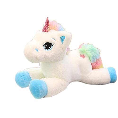 """Georgie Porgy Mimoso Unicornio Juguete Suave Peluche Regalo Esponjoso para niñas de 3 años o más (Blanco Azul 15"""")"""