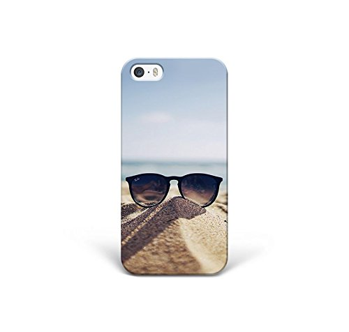 for iPhone 5 - iPhone 5s - iPhone SE - Phone Back Case Hard Cover Custom Personalised Trendy Style Present Modern Design Protective Plastic UK Brand Appfix Beach Glasses Sun Holiday