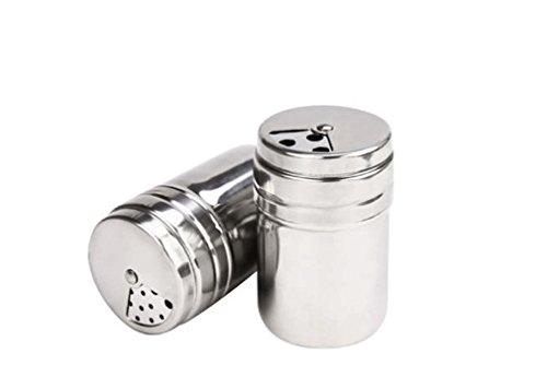 MKNzone Set von 6 Gewürzdosen, Edelstahl Mehrzweck Gewürzbehälter für die Konservierung von Gewürzen und Würzmitteln für Küche Kochen und Barbecue (Tray Mit Condiment Deckel)