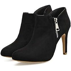 Pump Ankle Boot 9cm Stiletto Spitz Zeh kurze Stiefel Kleid Schuhe Hochzeit Schuhe Frauen einfach Seude Pure Farbe Zipper Court Schuhe Casual Schuhe Eu Größe 34-40 ( Color : Black , Size : 37 )