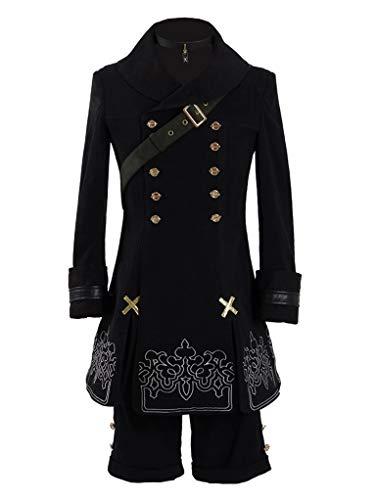 Yewei Spiel 9S Kostüm Herren Schwarz Halloween Cosplay Mantel Shorts Outfit (Schwarz, XXL) -