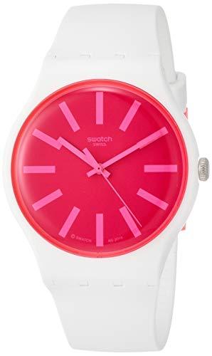 Swatch Damen Analog Quarz Uhr mit Silikon Armband SUOW162