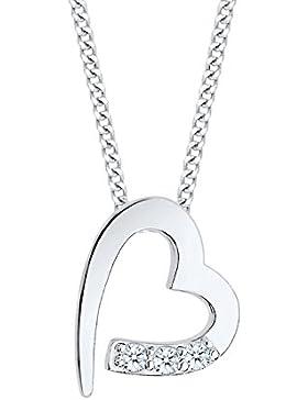 Diamore Damen Kette mit Anhänger Herz 925 Sterling Silber Diamant weiß 0,06 ct Brillantschliff 45 cm