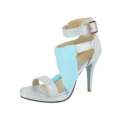 LvYuan Damen-Sandalen-Kleid Party & Festivität-maßgeschneiderte Werkstoffe Kunstleder-Stöckelabsatz-Club-Schuhe-Beige Hellrosa Hellblau Light Blue