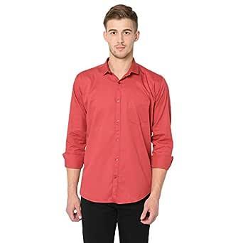 STUDIO NEXX Men's Slim Fit Cotton Casual Shirt Red