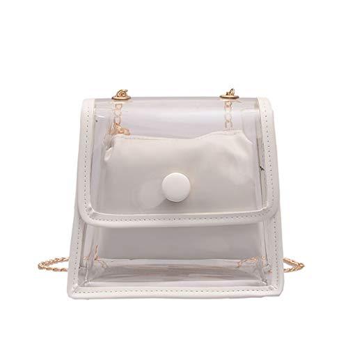 Calvinbi Damen Rucksack Umhängetasche PVC Transparent Taschen Durchsichtig Schulrucksack Clear Bookbag Reise Backpack Gepäck Beutel Outdoor Organizer -