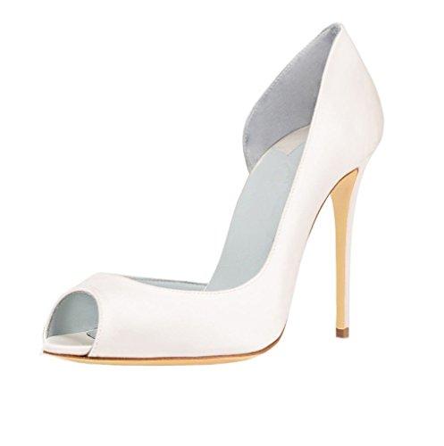 EDEFS Damen Peep Toe Pumps High Heel Stiletto Absatz D'orsay Hochzeit Schuhe Weiß