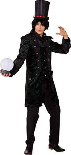 Magician Fancy Dress Kostüm - Mens Gothic Wizard Mysterious Dark Magician Jacket Halloween Horror Fancy Dress Costume Coat (X-Large (EU 54/56))
