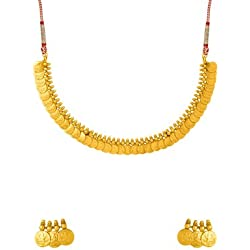 Nia Lakshmi Engraved Coin Detailing Necklace Set For Women
