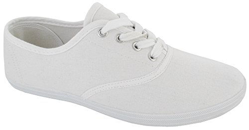 LADIES WOMENS PLIMSOLES LACE UP FLAT PUMPS PLIMSOLLS CANVAS GIRLS TRAINERS SIZE 4 UK White 37 EU