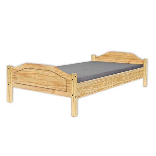 Inter Link Jugendbett Doppelbett Gästebett modernes Bett 180x200 Echt Holz Kiefer Natur lackiert
