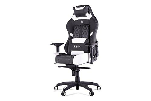 N. Sitz Pro 600Ergonomischer Gaming/Bürostuhl mit Lenden- und Kopfstütze Kissen, hochwertigem PVC Leder mit Kohlefaser-Akzenten, schwarz/schwarz, weiß / schwarz, 48x50x132 cm (Akzent-kissen, Schwarz Und Weiß)