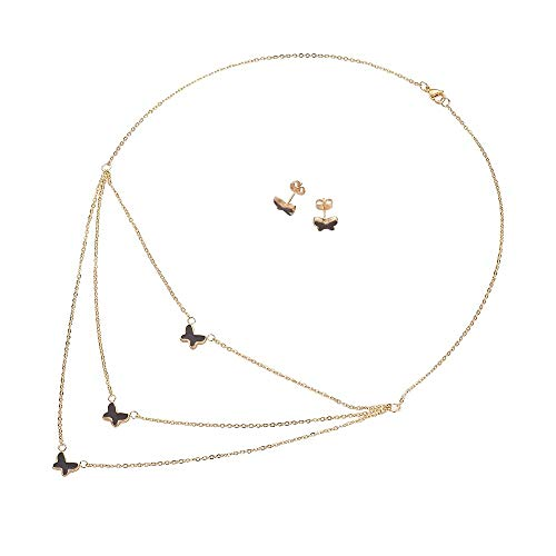 Lady Bling Bling Damen Schmuck-Set Halskette mit Anhängern und Ohrringe aus Edelstahl mit Emaille Dreireihig Schmetterlinge inkl. Etui
