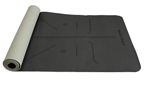 MaxDirect Esterilla Yoga con Sistema de Alineación y Marcados. Colchoneta Yoga Mat Antideslizante y Ligera de Material Ecológico TPE. Tamaño Ideal 183cm x 61cm x 6mm. - Negro