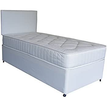 Single white deep quilt 3ft divan bed includes base for White single divan