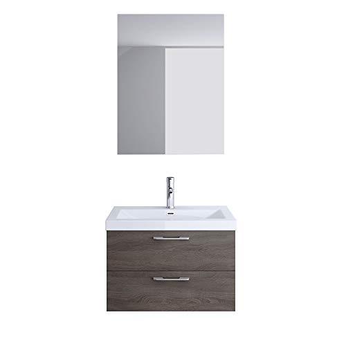 Meuble de salle de bains ensemble de 3 trois-pièces, meuble sous vasque 60,2cm, vasque 60,2cm et miroir Bavaria