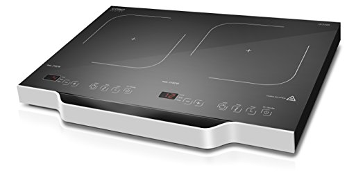 CASO W3500 mobiles Doppel-Induktionskochfeld, Induktions-Kochplatte, max. 3500 Watt, bis zu 50{97a4fa88457c8762a233ac346cb071fd13b08de055a7f35fb25a8566cf685136} energiesparender & sicherer als mit einem normalen Kochfeld, 12 präzise Leistungsstufen, ca. 60-240 °C