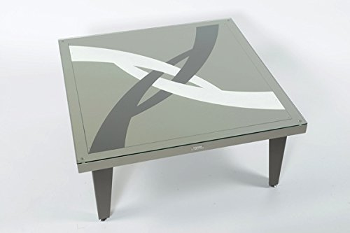 Styl'Métal 21 Table Basse Illusion 100x100 métal Chocolat, Taupe et Blanc
