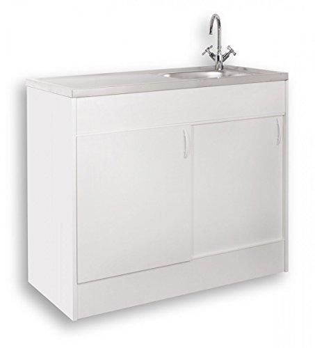 Komplettspüle 100x50cm mit Schiebetür Spülenschrank Spülschrank Auflagespüle weiß