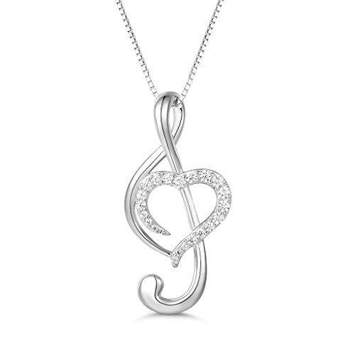 MASOP Halskette für Damen Liebe Lied Note Anhänger 925 Sterling Silber mit Weiß Rund Zirkonia Swarovski Elements 45+5CM Kette Geschenk für Frau Freundin