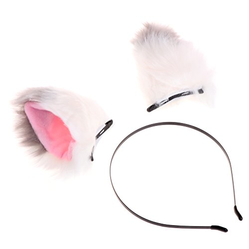 Autone Lovely Fox Cat Ohr Form Haar Clip + Haarband Tier Cosplay Halloween Party Kostüm, White+Gray
