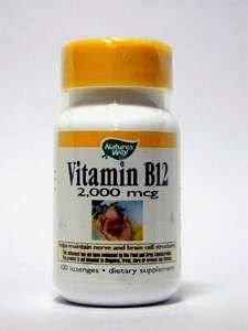Nature's Way, Vitamin B-12, Natural Cherry Flavour, 2,000 mcg, 100 Lozenges