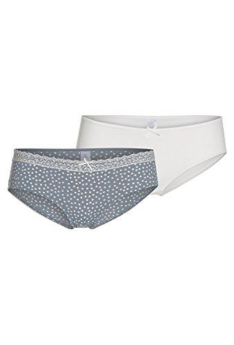 LA DESSOUS Damen Slip, 2er Set Unterwäsche Unterhose Frauen Panty Basic casual Hellblau-Weiß