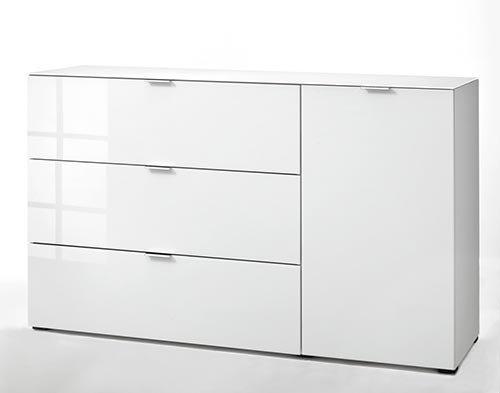 Kommode in weiß mit sandfarbenem Glas, mit 1 Klappe, 2 Schubkästen und 1 Tür, dahinter 2 Einlegeböden, Maße: B/H/T ca. 163/98/50 cm - 3