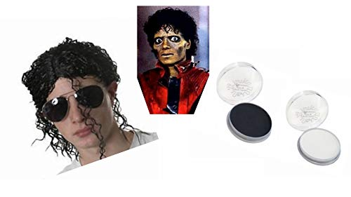 M F D Thriller Halloween Pop Star Zombie Were Wolf Relaxed Afro Wig Black & White ()