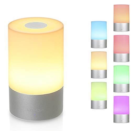 Lámpara de Mesa, Lixada Lampara Mesita Noche, con Luz Blanca Cálida Regulable y RGB 256 Color-Cambiante, Control Táctil de 360 grados para Habitaciones, Lampara de Mesa Tactil