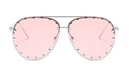 GFF Damen Metall Halbrahmen Sonnenbrille Rot Damen Persönlichkeit Niet Brille Brille UV Schutz 45202