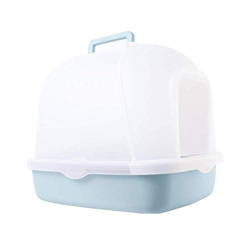Large Cat Litter Tray, Fully Enclosed Open Lid Litter Boxes, Deodorization Cat Hooded Litter Tray Pet Supplies (Color : Blue)