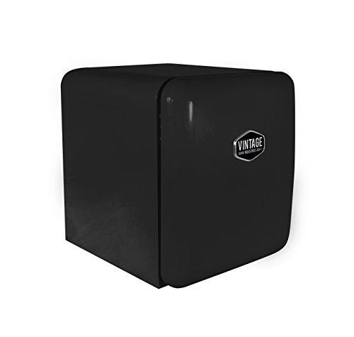 Vintage Industries ~ Mini Retro-Kühlschrank Miami 2018 in schwarz | Mini-Bar 50er Jahre Look | Größe: 50cm & 48l Volumen | höhenverstellbarer Tisch-Kühlschrank mit manueller Temperatureinstellung - Mini-kühlschrank-bier-flaschen