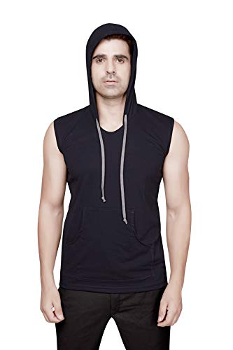 Dudlind Men Clothing Casual Navy Blue Hooded Extra Large [44 inches] Sleeveless T-Shirt for Men with Side Pockets | Sleeveless Hooded Cotton T-Shirt Regular Fit
