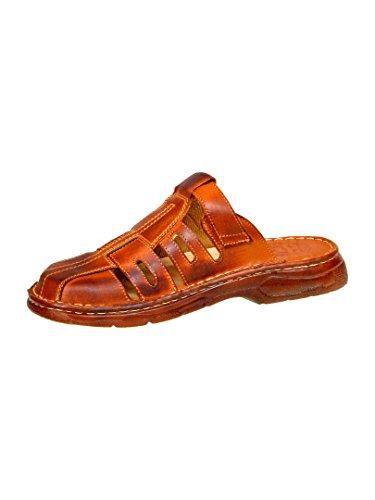 Sandales De Type Mule Pour Homme Chaussures Confortables En Cuir Naturel De Bison De Forme Orthopedique Modele 862 Brun