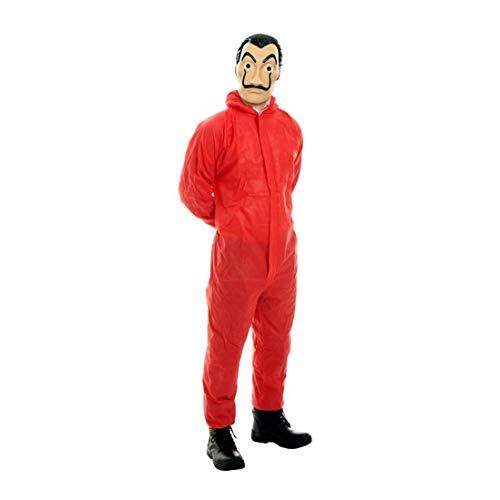 Nerd Clear Haus des Geldes Kostüm für Damen & Herren | 2-teilig: roter Ganzkörper-Anzug + hochwertige Maske (Nerd Overall Für Erwachsene Kostüm)