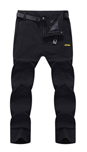 Geval Outdoor coupe-vent Séchage rapide Pantalons Escalade de randonnée pour hommes Noir