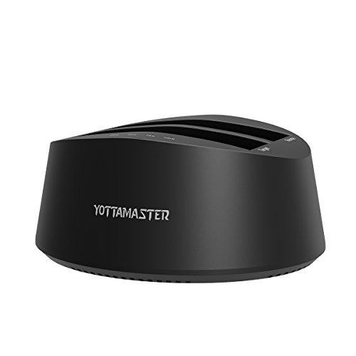 Yottamaster Dual-Bucht 2.5/3.5 Zoll USB3.0 zu SATA3.0 SSD/HDD Docking Station Unterstützung Offline Klon [UASP & 2 x 10TB] -Black