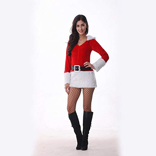 CVCCV 2018 sexy Weihnachten kostüm Erwachsene weibliche Cosplay spaß einheitliche versuchung ds Leistung kostüm Baumwollgewebe (Erwachsene Weihnachts-spaß Für)